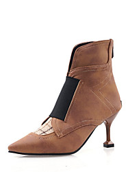 cheap -Women's Boots Kitten Heel Pointed Toe Stitching Lace Faux Leather Booties / Ankle Boots Casual / Minimalism Walking Shoes Spring &  Fall / Fall & Winter Black / Brown / Color Block