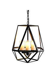 cheap -3-Light Antique Iron Pendant Lamp American Country Hanging Light Black Cages Shade Kitchen Island Dining Table Chandeliers Chain Adjustable 3 Lights