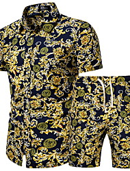 cheap -Men's Plus Size Set Geometric Graphic Print Tops Basic Boho Classic Collar Yellow / Short Sleeve / Beach