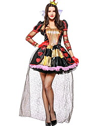 cheap -Queen of Hearts Costume Women's Fairytale Theme Halloween Performance Cosplay Costumes Theme Party Costumes Women's Dance Costumes Polyester Split Joint
