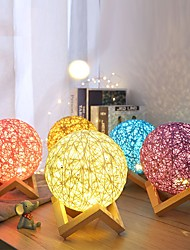 cheap -Moon Light Twine Rattan Light Staycation Decoration Night Light Dimmable Table Lamp USB Powered Bedroom Holiday Lights