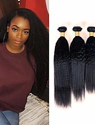 cheap -6 Bundles Brazilian Hair kinky Straight Remy Human Hair Natural Color Hair Weaves / Hair Bulk Bundle Hair One Pack Solution 8-28inch Natural Color Human Hair Weaves Odor Free Classic Easy dressing