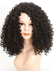 cheap -Synthetic Wig Afro Afro Curly With Bangs Wig Medium Length Dark Brown Synthetic Hair 17 inch Women's African American Wig For Black Women Black