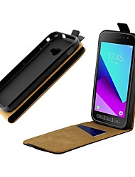 cheap -Case For Samsung Galaxy Samsung Galaxy Xcover 4 Card Holder / Shockproof / Flip Full Body Cases Solid Colored Hard Genuine Leather