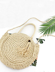 cheap -Women's Straw Top Handle Bag Solid Color Beige / Brown / Fall & Winter