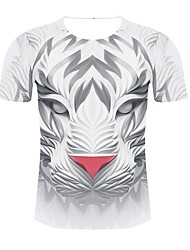 cheap -Men's Plus Size Animal Print T-shirt Daily Wear Round Neck White / Short Sleeve