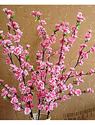 cheap -CYNDIE Wedding Flower 49.22` Artificial Cherry Plum Spring Peach Blossom Spray Branch Silk Flower Tree Red1pc