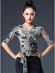cheap -Latin Dance Tops Women's Training / Performance Ice Silk Pattern / Print / Split Joint Half-Sleeve Top