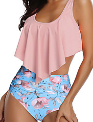 cheap -Women's High Waisted Swimsuit Swimwear Short Sleeve 2-Piece - Swimming Diving Floral / Botanical Patchwork Spring / Micro-elastic