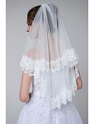 cheap -Two-tier Lace Applique Edge / Classic Wedding Veil Elbow Veils with Appliques Tulle