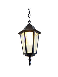cheap -1-Light Oil Rubbed Pendant Light Outdoor Waterproof Garden Wall Lantern Pendant Lamps for Hallway Restaurant Farm House Black