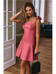 cheap -Women's A Line Dress - Solid Colored Fashion Strap Spring Blushing Pink Yellow Light Blue L XL XXL