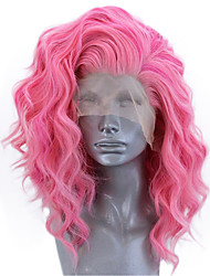 Недорогие -Синтетические кружевные передние парики Волнистый Стиль Боковая часть Лента спереди Парик Розовый Искусственные волосы 12-14 дюймовый Жен. Регулируется Жаропрочная Для вечеринок Розовый Парик Короткие