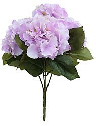 Недорогие -(1 букет из 5 цветов) букет из гортензии из искусственного шелка Поддельные цветочные композиции для домашнего декора свадьбы (светло-фиолетовый)