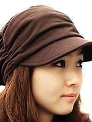 cheap -LanLan Women Girl Fashion Design Drape Layers Beanie Rib Hat Brim Visor Cap Brown