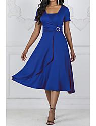 cheap -2019 New Arrival Dresses Women's Basic Sheath Dress Elbise Vestidos Robe Femme - Solid Colored Black Wine Royal Blue XXXL XXXXL XXXXXL