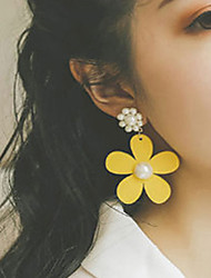 cheap -Women's Drop Earrings Earrings Vintage Style Flower Imitation Pearl Wood Earrings Jewelry Yellow For Party Daily Street Holiday Festival 1 Pair