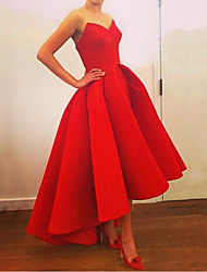 cheap -Women's Party Homecoming A Line Dress - Solid Colored Strapless Red S M L XL