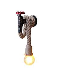 Недорогие -Современный промышленный настенный светильник форма крана настенный светильник простой одиночный свет конопли веревки бра для гостиной, спальни, ресторана