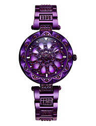cheap -Women's Quartz Watches Skeleton Blue Gold Purple Stainless Steel Chinese Quartz Blue Gold Purple Water Resistant / Waterproof Hollow Engraving New Design 1 pc Analog