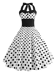 cheap -Audrey Hepburn Country Girl Polka Dots Retro Vintage 1950s Rockabilly Dress Masquerade Women's Costume White Vintage Cosplay School Office Festival Sleeveless Medium Length A-Line