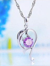 cheap -Women's Charm Necklace Classic Fashion Zircon Copper Silver Plated Purple 45 cm Necklace Jewelry 1pc For Daily Work