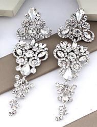 cheap -Women's White Earrings Chandelier Floral Theme Dangling Trendy Modern Elegant Earrings Jewelry Silver / Golden For Wedding Party Carnival Festival 1 Pair