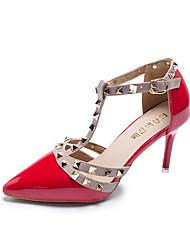 cheap -Women's Heels Stiletto Heel Closed Toe PU(Polyurethane) Spring &  Fall Black / Beige / Red