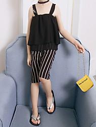 cheap -Kids Toddler Girls' Active Basic Striped Ruffle Print Sleeveless Regular Cotton Clothing Set Black