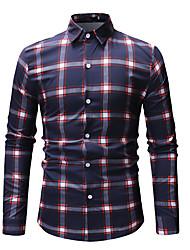 cheap -Men's Daily Work Business / Basic Shirt - Plaid Print Red