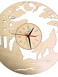 cheap -Wolf Wall Clock Made of Wood Wall Watch 3D Time Clock Handmade Wall Art Gift for Living Room