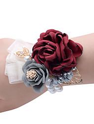 abordables -Yiwu pho_0agf décoration de mariage fleur mariée demoiselle d'honneur poignet fleur parti poignet fleur vin rouge