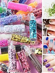 Недорогие -12 цветов блестящий порошок блеск для ногтей ультра-тонкий набор блесток ногтей 3d полые акриловые хлопья для ногтей дизайн ногтей маникюр украшения