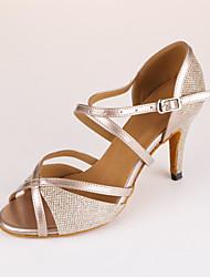 cheap -Women's Latin Shoes Ballroom Shoes Salsa Shoes Line Dance Heel Slim High Heel Beige Cross Strap