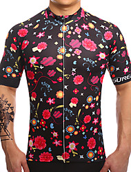 cheap -Fastcute Men's Short Sleeve Cycling Jersey Black / Red Floral Botanical Bike Jersey Top Mountain Bike MTB Road Bike Cycling Breathable Quick Dry Moisture Wicking Sports Clothing Apparel / Stretchy