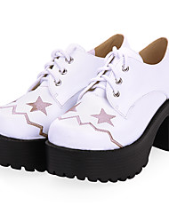 cheap -Women's Lolita Shoes Punk Wedge Heel Shoes Color Block 8 cm Black White PU Leather / Polyurethane Leather Halloween Costumes