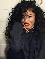 Недорогие -человеческие волосы Remy Лента спереди Парик стиль Бразильские волосы Волнистые Глубокий курчавый Нейтральный Черный Парик 130% 150% Плотность волос