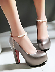 cheap -Women's Heels Chunky Heel Round Toe Rhinestone / Imitation Pearl / Buckle PU(Polyurethane) Spring &  Fall White / Pink / Gray / Wedding / Party & Evening