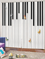 cheap -Art Print Curtains Strong Fastness Thick Waterproof Bath Curtain Heat / Sound Insulation Blackout Polyester Fabric for Dedroom / Living Room