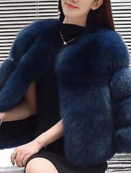 abordables -Manteau en Fourrure Femme,Couleur Pleine Décontracté / Quotidien simple Manches Longues Bleu / Rouge / Gris / Violet Fausse Fourrure Hiver