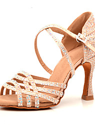 cheap -Women's Dance Shoes Satin Latin Shoes Rhinestone / Crystal / Rhinestone Heel Flared Heel Customizable Nude / Performance