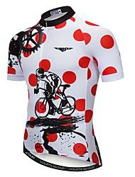 abordables -21Grams Homme Manches Courtes Maillot Velo Cyclisme Rouge / Blanc Points Polka Equipement Cyclisme Maillot Hauts / Top VTT Vélo tout terrain Vélo Route Respirable Evacuation de l'humidité Séchage