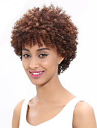 cheap -Remy Human Hair Full Lace Lace Front Wig Asymmetrical style Brazilian Hair Afro Curly Black Wig 130% 150% 180% Density Odor Free Normal Life Women For Black Women Women's Short Human Hair Lace Wig
