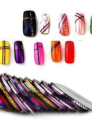 Недорогие -30 шт. / Пакет 1 мм смешанные цвета радия ногтей линия стикер рулон чередование ленты линия искусства ногтя стикер украшения клей искусство палку