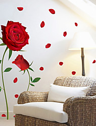 cheap -Red Rose Pattern Wall Decal Mural Removable Flowers Sticker Art for Valentine's Day DIY Home Decor