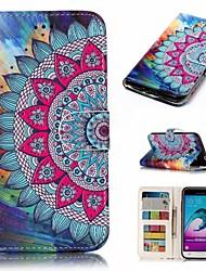 Недорогие -Кейс для Назначение SSamsung Galaxy J3 (2016) Кошелек / Бумажник для карт / Флип Чехол Цветы Твердый Кожа PU