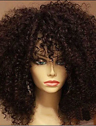 cheap -Synthetic Wig Afro Curly With Bangs Wig Short Dark Auburn Synthetic Hair 15 inch Women's African American Wig For Black Women Dark Brown