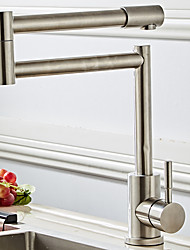 cheap -Kitchen faucet -Foldable/Rotatable Single Handle One Hole Nickel Brushed Standard Spout / Pot Filler Free Standing Contemporary Kitchen Taps