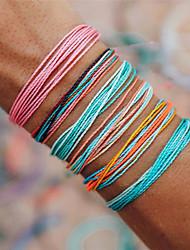 cheap -6pcs Women's Vintage Bracelet Bracelet Braided Rainbow Simple Bohemian Fashion Boho Cord Bracelet Jewelry Rainbow For Party Gift Holiday Promise