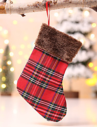 cheap -Christmas Plaid Sock/Tree Skirt for Xmas Tree Hanging Decor Mat Cover Kids Gift Bag